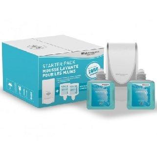 Distributeur savon avec deux cartouches mousse DEB