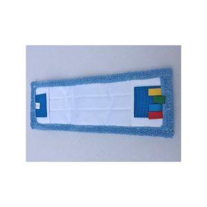 frange microfibre bleue micro plus languettes et poches 50 cm