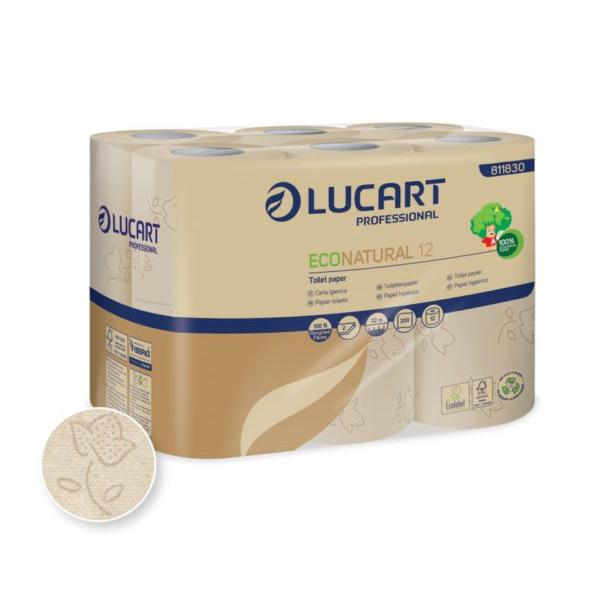 lucart papier toilette ecologique eco natural 12 petits rouleaux